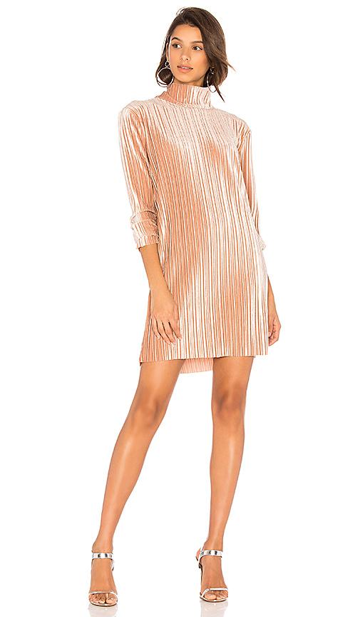 MINKPINK Pleated Velvet Dress in Blush