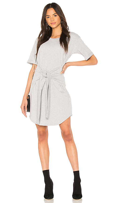 MINKPINK Tie Front T-Shirt Dress in Gray