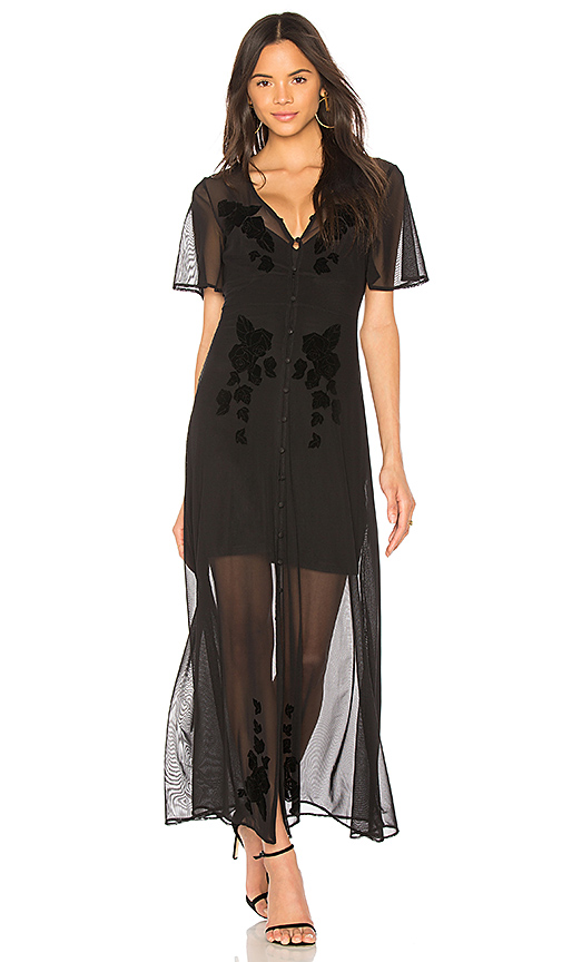 MINKPINK Drifters Flocked Mesh Dress in Black
