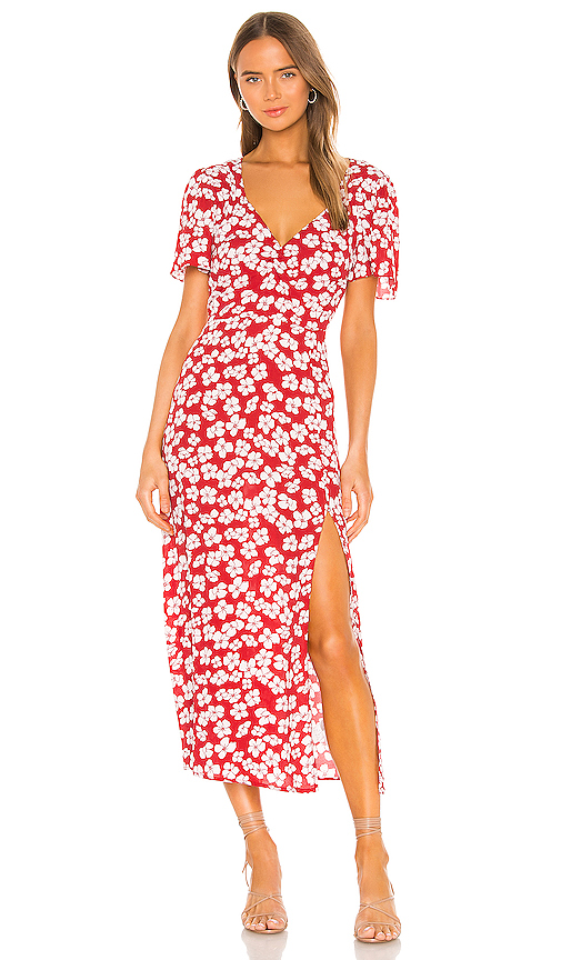 Minkpink MINKPINK BETWEEN YOU AND I MIDI DRESS IN RED.