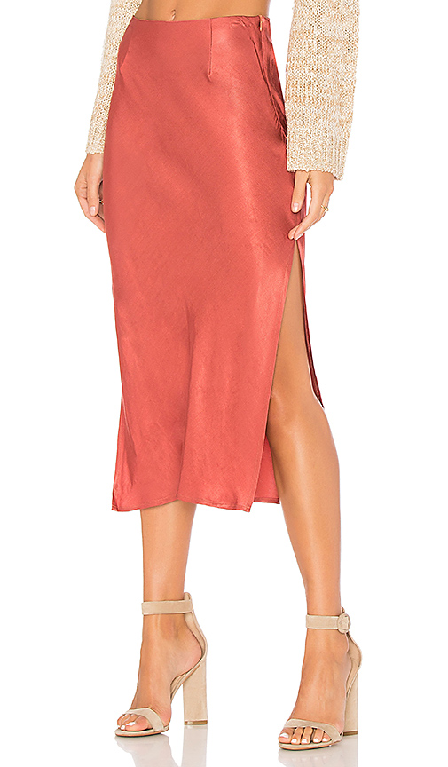 MINKPINK Rose Coloured Glasses Skirt in Rust. - size L (also in M,S,XS)