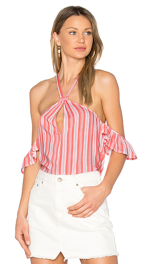 MINKPINK Haiti Cold Shoulder Top in Coral