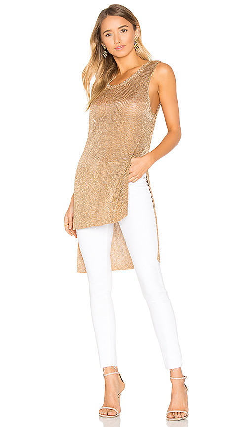 MINKPINK Metallic Knit Tunic Tank in Metallic Gold