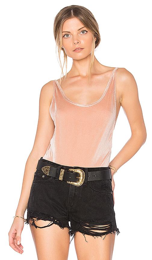 MINKPINK Plunge Velvet Bodysuit in Pink