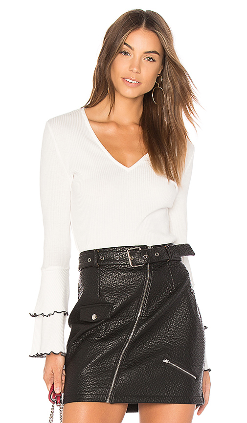 MINKPINK Lolita Sleeve Rib Top in White