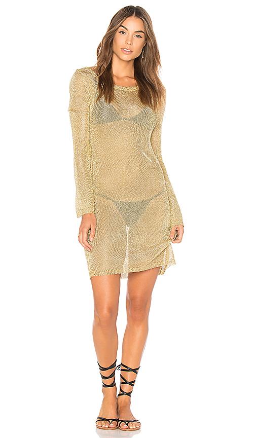 MINKPINK Stay Golden Knit Dress in Metallic Gold