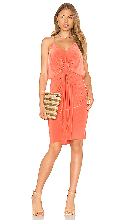MISA Los Angeles Domino Midi Dress in Orange