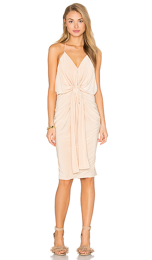 MISA Los Angeles Domino Midi Dress in Tan