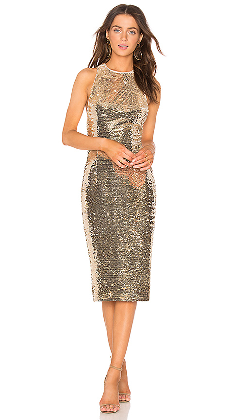 Misha Collection Amya Dress in Metallic Gold