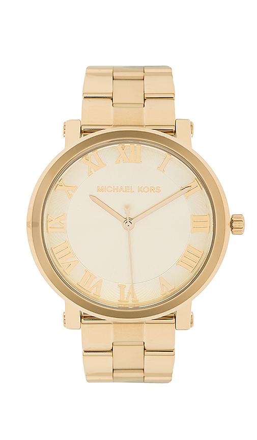 Michael Kors Norie Watch in Metallic Gold.