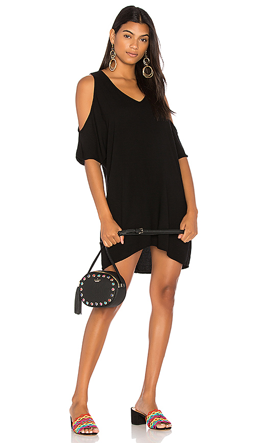 Michael Lauren Bender Open Shoulder Dress in Black