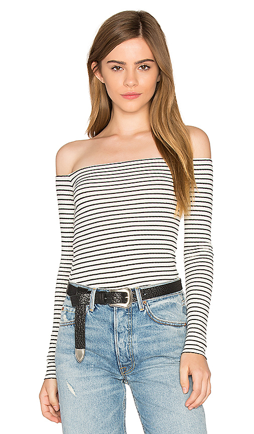 Michael Lauren Santorini Off Shoulder Tee in Black