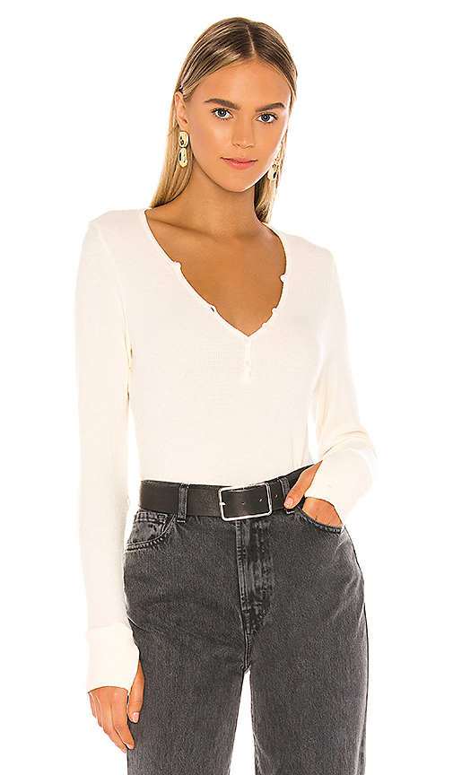 Michael Lauren Tahoe Deep V Button Henley In Ivory. In Ivory Lace