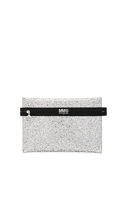 MM6 Maison Margiela Glitter PVC Clutch in Metallic Silver