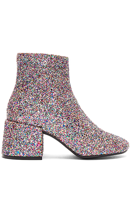 MM6 Maison Margiela Glitter Booties in Metallic Silver