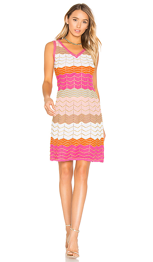 M Missoni Sleeveless V Neck Mini Dress in White. - size IT 38/ US 2 (also in IT 40/ US 4)