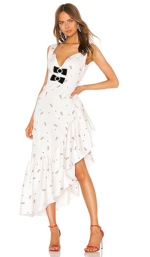 Marianna Senchina Voluminous Ruffles Dress In White With Floral Print