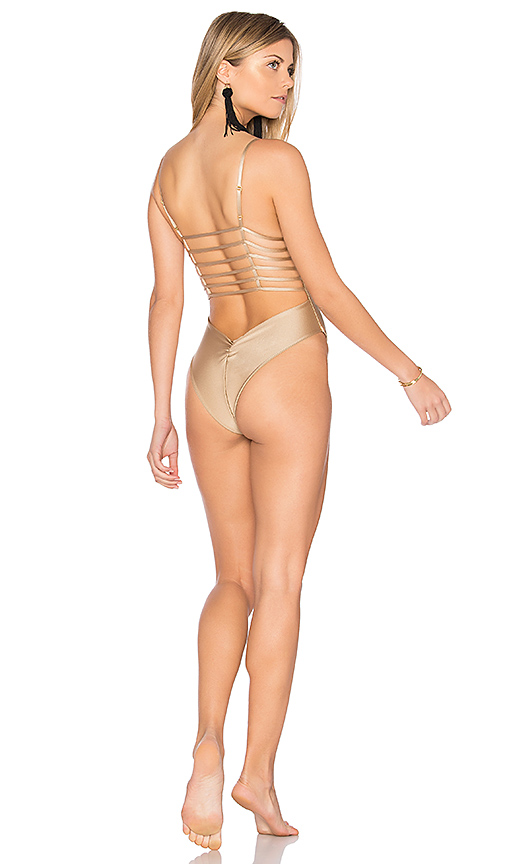Montce Swim Cage One Piece in Metallic Gold