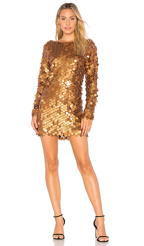 Motel Malia Sequin Dress in Metallic Bronze