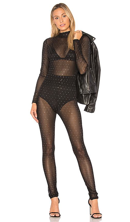Motel Sita Netted Jumpsuit in Black. - size S (also in M,XS)