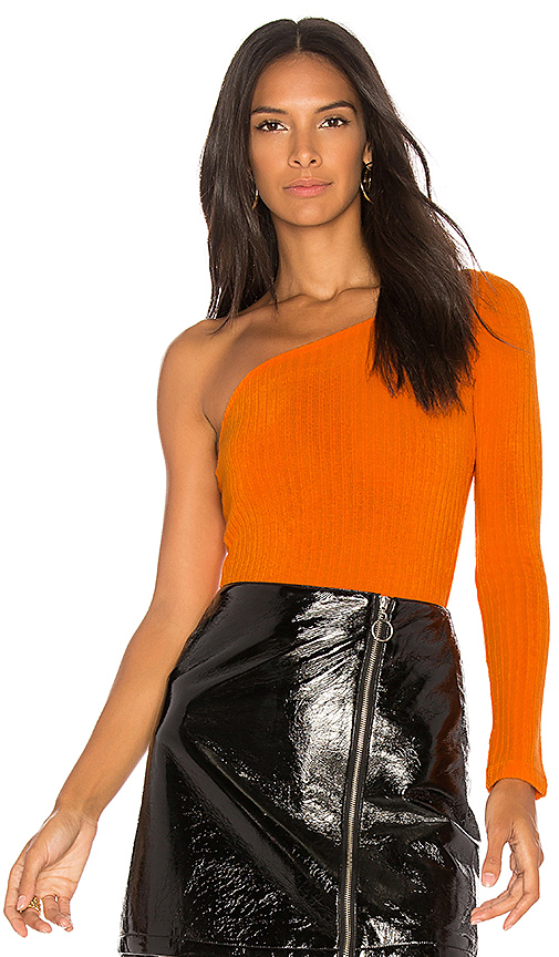 Motel Binx One Shoulder Bodysuit in Orange