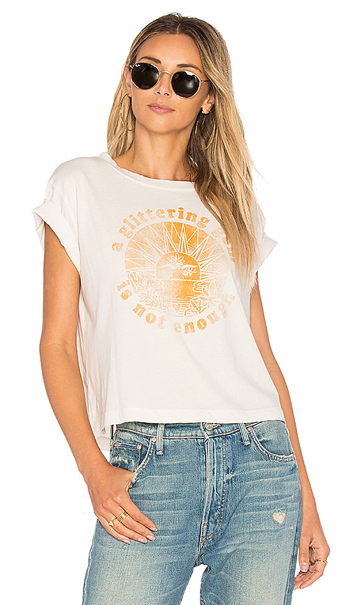 MOTHER A Glittering Gem Is Not Enough Crop Tee in White