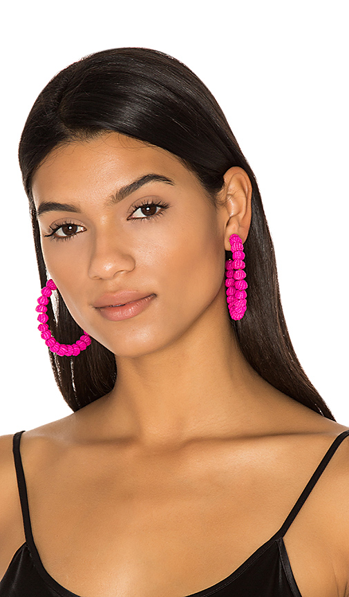 Mercedes Salazar Candongas Petit Earrings in Fuchsia