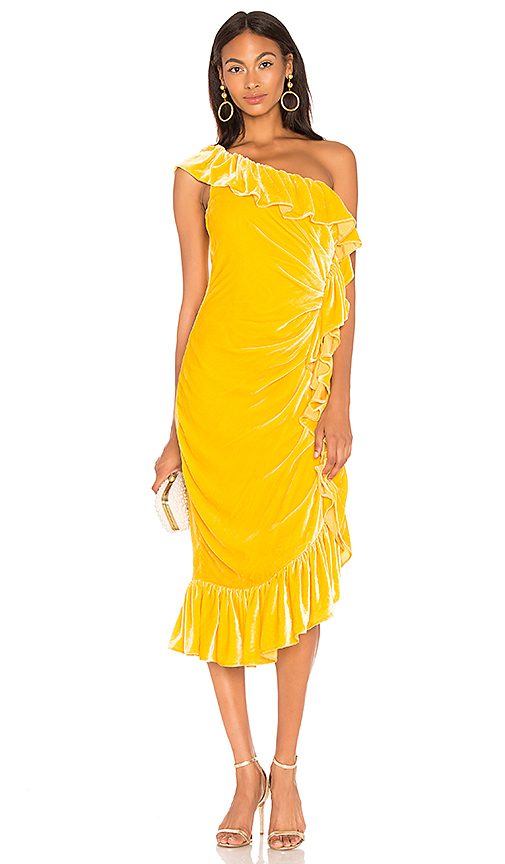 733e7e87e602 Flamenco One Shoulder Ruffle Midi Dress in Yellow. - size 0 (also in 2,4)