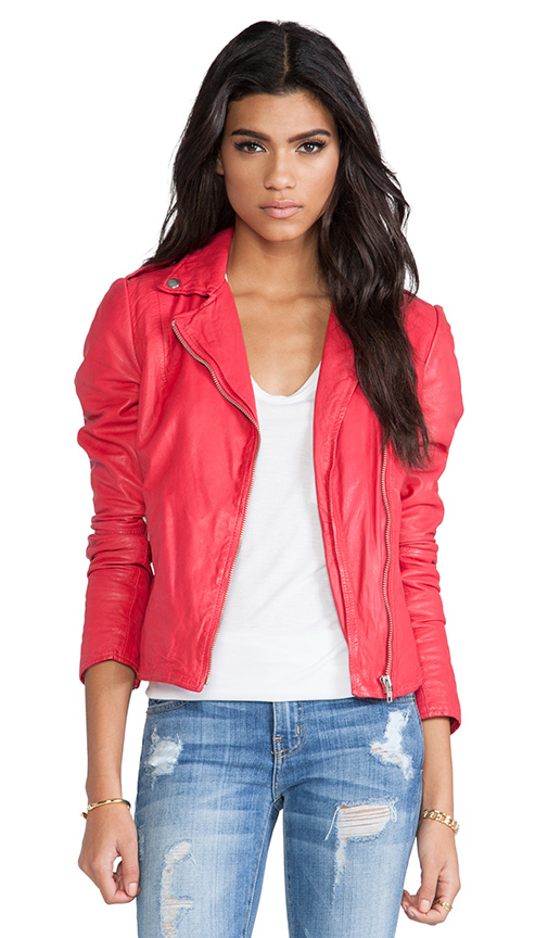 Muubaa Moto Jacket in Red