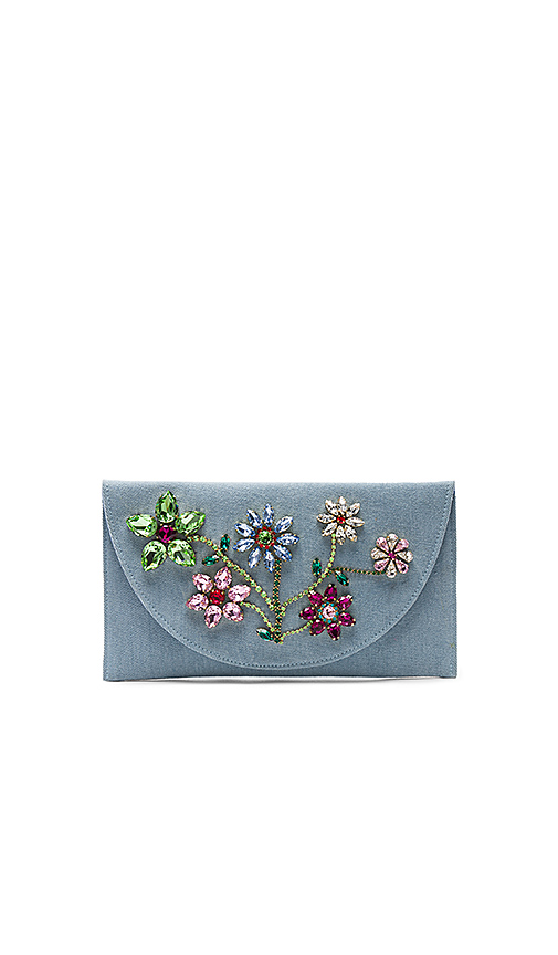 Mystique Flower Clutch in Baby Blue