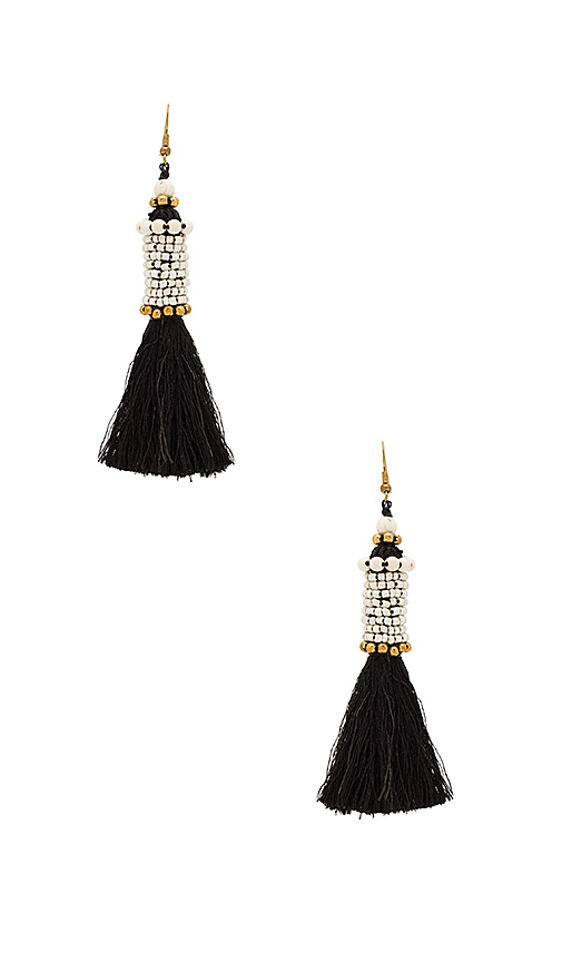 Natalie B Jewelry Kata Cylinder Tassel Earrings in Black & White