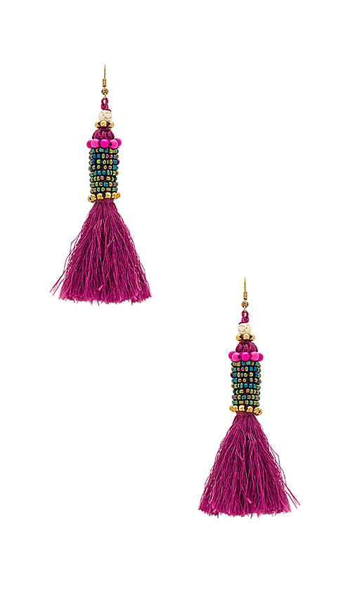 Photo of Natalie B Jewelry Kata Cylinder Tassel Earrings in Fuchsia - shop Natalie B Jewelry accessories and jewelry sales