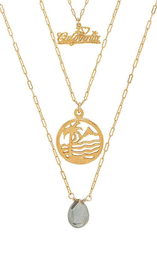 Natalie B Jewelry Love California Necklace Set in Metallic Gold