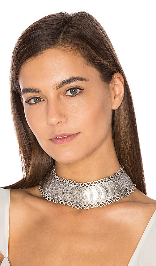 Natalie B Jewelry Cyprus Choker Necklace in Metallic Silver