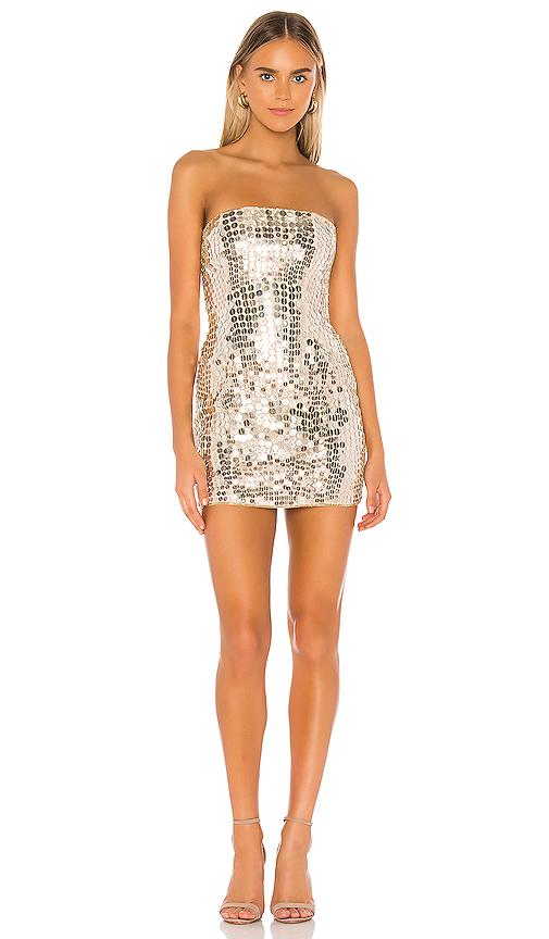 Nbd Sabrina Mini Dress In Gold & Nude