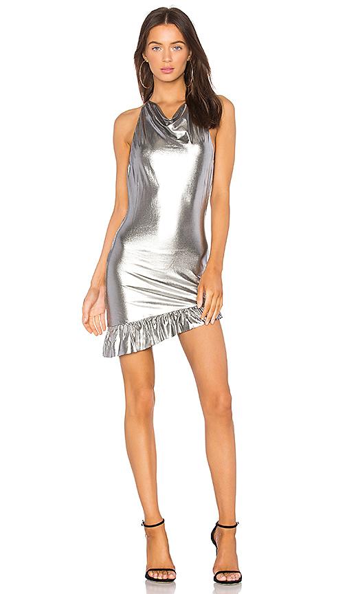 NBD X REVOLVE Elise High Neck Dress in Metallic Silver