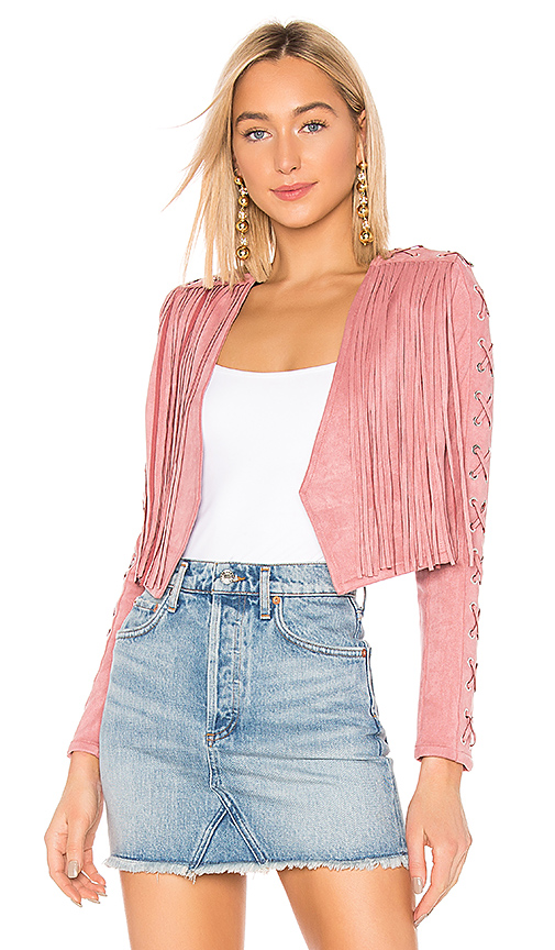 NBD | NBD X Naven Rylan Fringe Jacket In Pink. - Size XL (Also In M,L) | Goxip