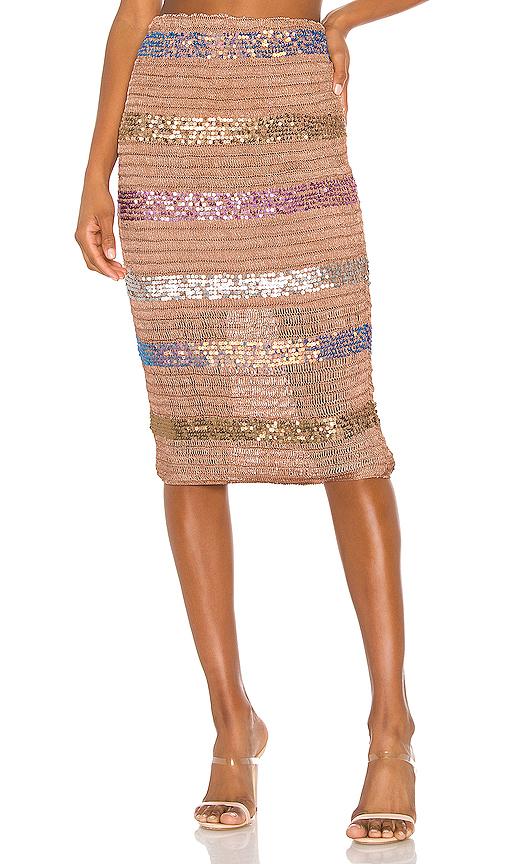 NBD | NBD Mosaic Midi Skirt In Brown. - Size L (Also In S,XXS,XS,M,XL) | Goxip