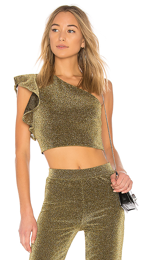 NBD x REVOLVE Brooke Ruffle Top in Metallic Gold