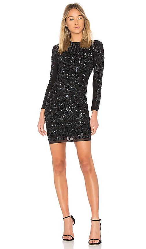 Needle & Thread Midnight Lace Dress in Black