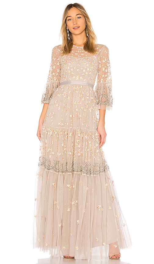 Needle & Thread Climbing Blossom Gown in Beige