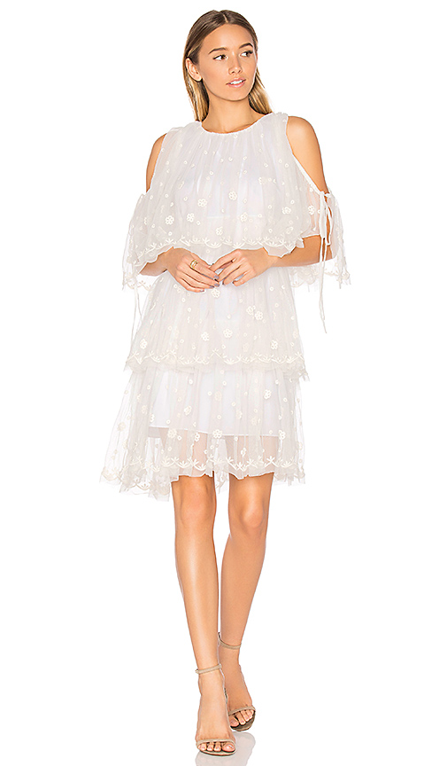 Needle & Thread Embroidered Tulle Dress in White
