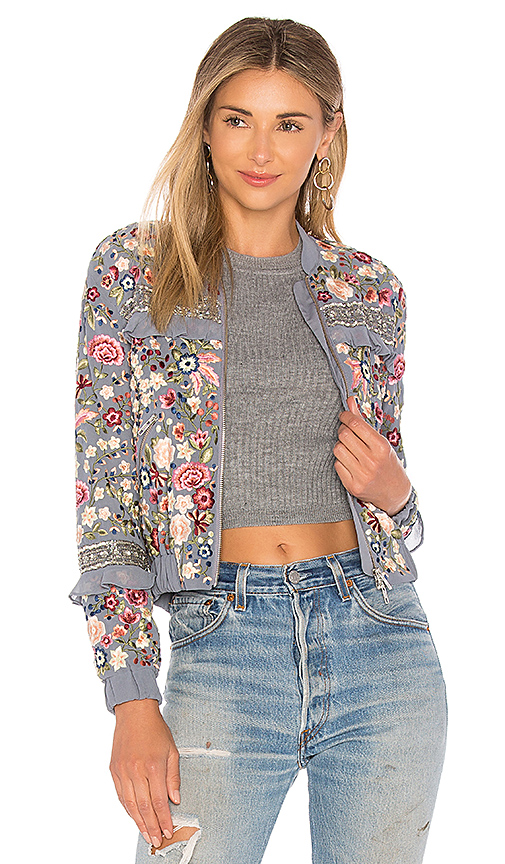 Needle & Thread Floral Jet Bomber in Blue