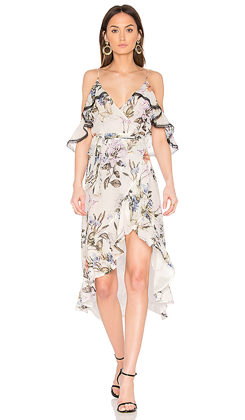 NICHOLAS Iris Floral Wrap Dress in White. - size 0 (also in 2,4,6,8)