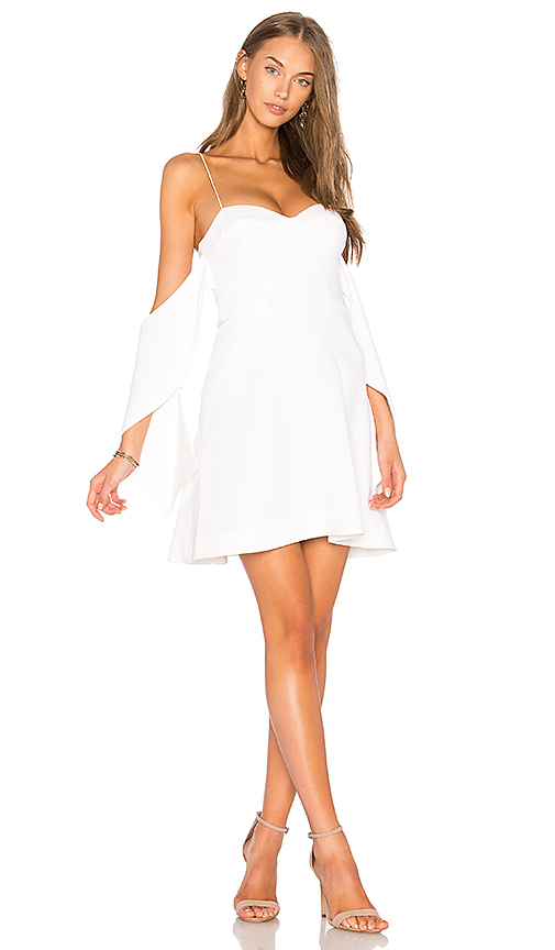 NICHOLAS Flounce Mini Dress in White