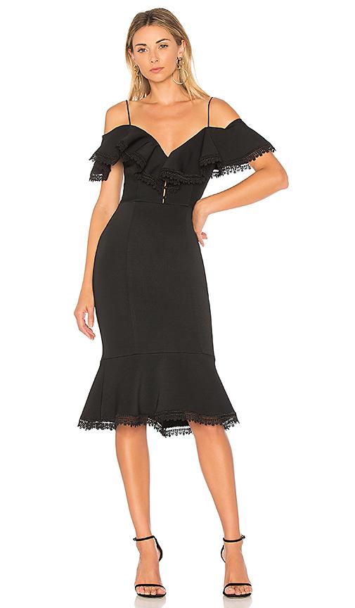 NICHOLAS Bandage Midi Dress in Black