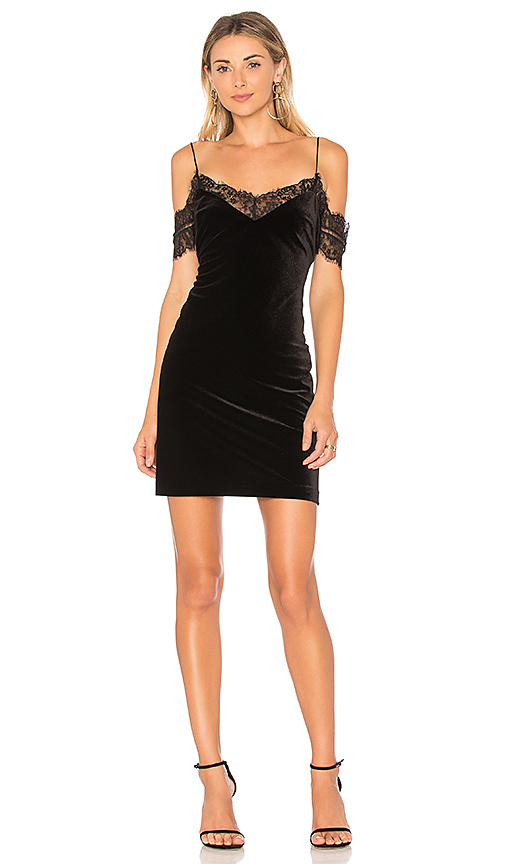 NICHOLAS Velvet Lace Trim Mini Dress in Black. - size 0 (also in 2,4,6,8)