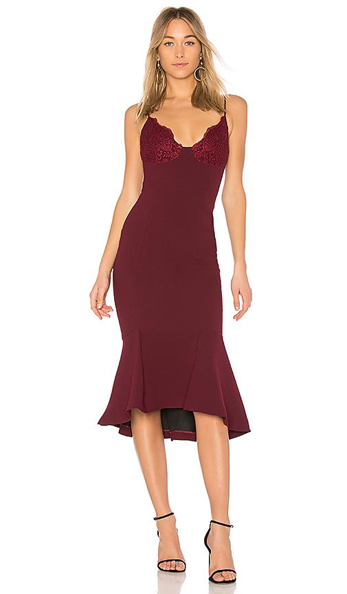 NICHOLAS Tuck Hem Dress in Wine