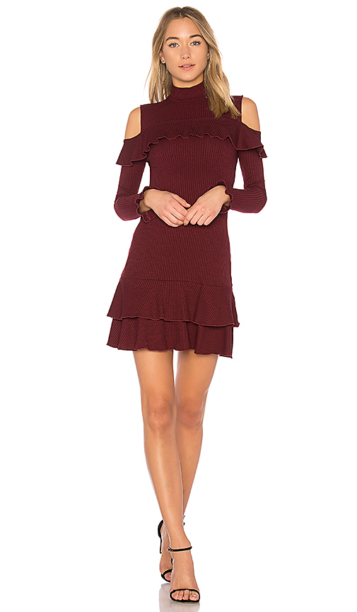 NICHOLAS Rib Knit Ruffle Mini Dress in Red