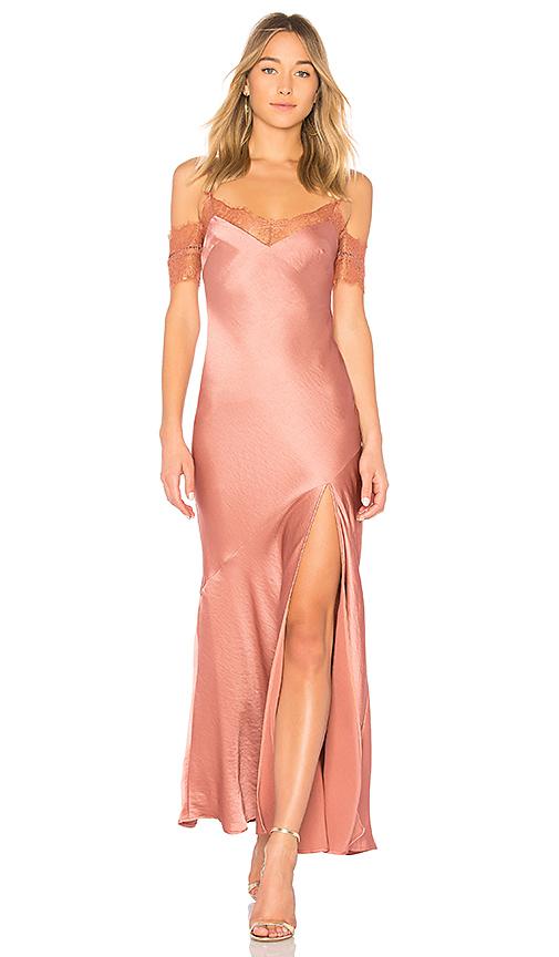 NICHOLAS Satin Bias Slip Dress in Rose